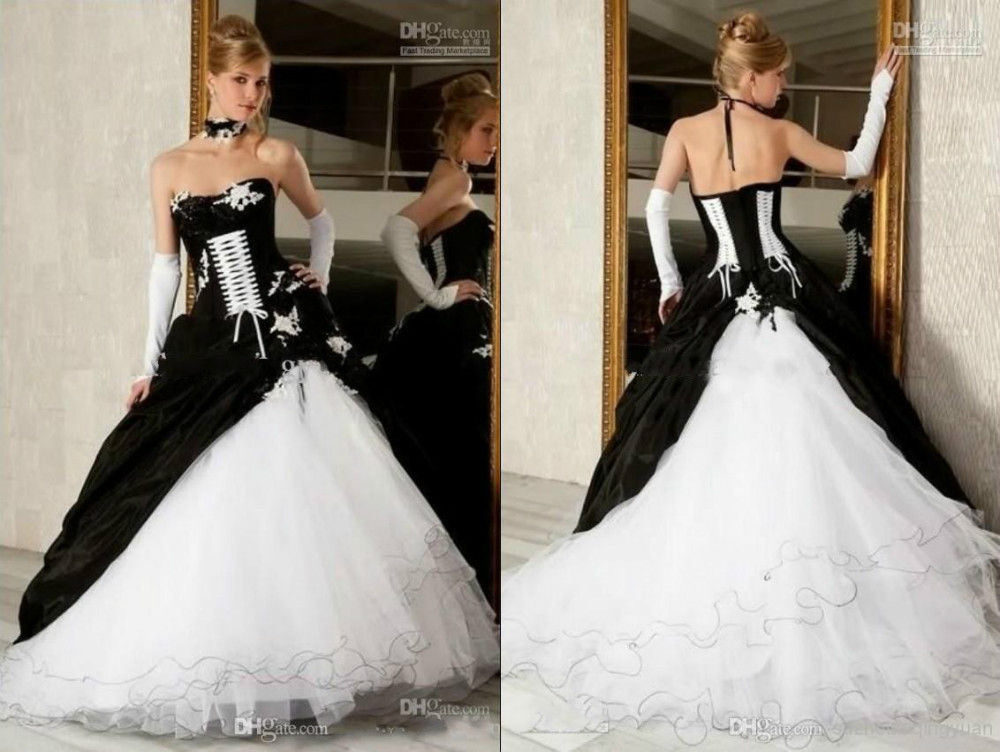 2017 Hot Sale Cheap Black And White Ball Gown Wedding