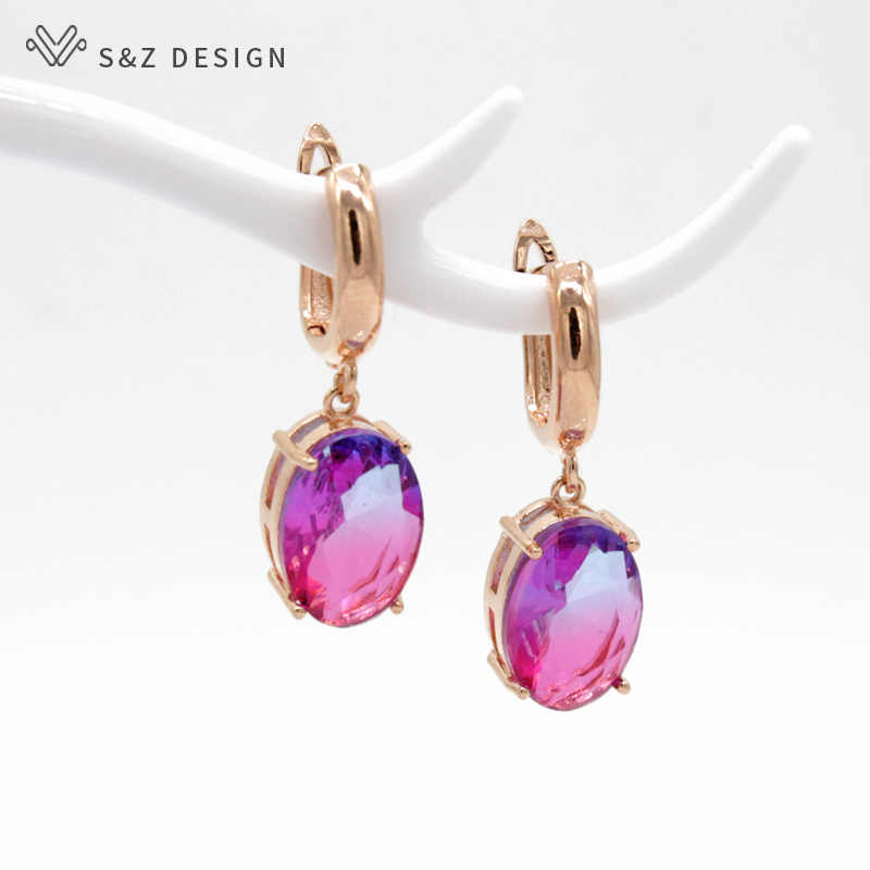S&Z Egg-shaped Gradient Color Long Earrings 2019 New Fashion 585 Rose Gold-color Jewelry Tourmaline Zircon Glass Dangle Earrings