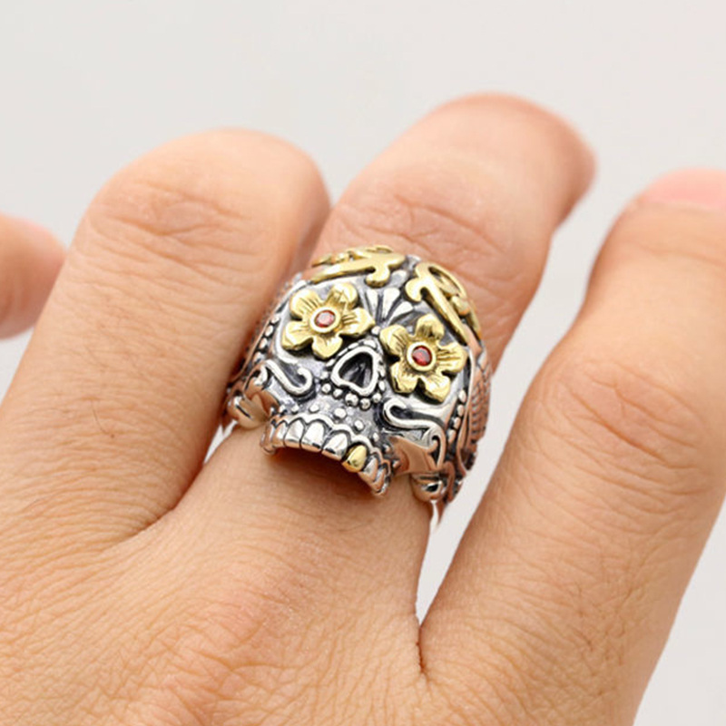 100% Pure 925 Sterling Silver Jewelry Skull Open Fashion Domineering Skeleton Punk Pirate Mens Signet Rings New Gift 283