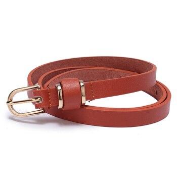 Women's Skinny Leather Belt Solid Color Waist or Hips Ornament 10 Sizes 1.5cm Wide Leopard Waistband Cummerbund Ladies and Girls 6