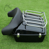 Chopped Tour Pak Trunk W/ Backrest Rack For Harley Road King Street Electra Glide FLH FLT 97 13