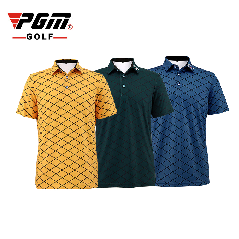 PGM Men Golf Polo Shirts Summer Plaid Pattern Sport T-shirt Breathable Anti Sweat Professional T-shirt Golf Short Sleeve T-shirt