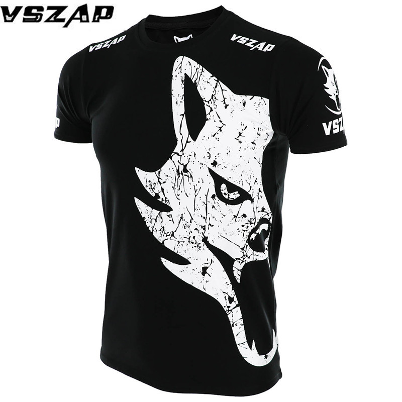 VSZAP MMA Boxing Short Sleeve T-shirt Thai Boxing Fighting Fitness Fighting Sport Trend(White/Red/Green)