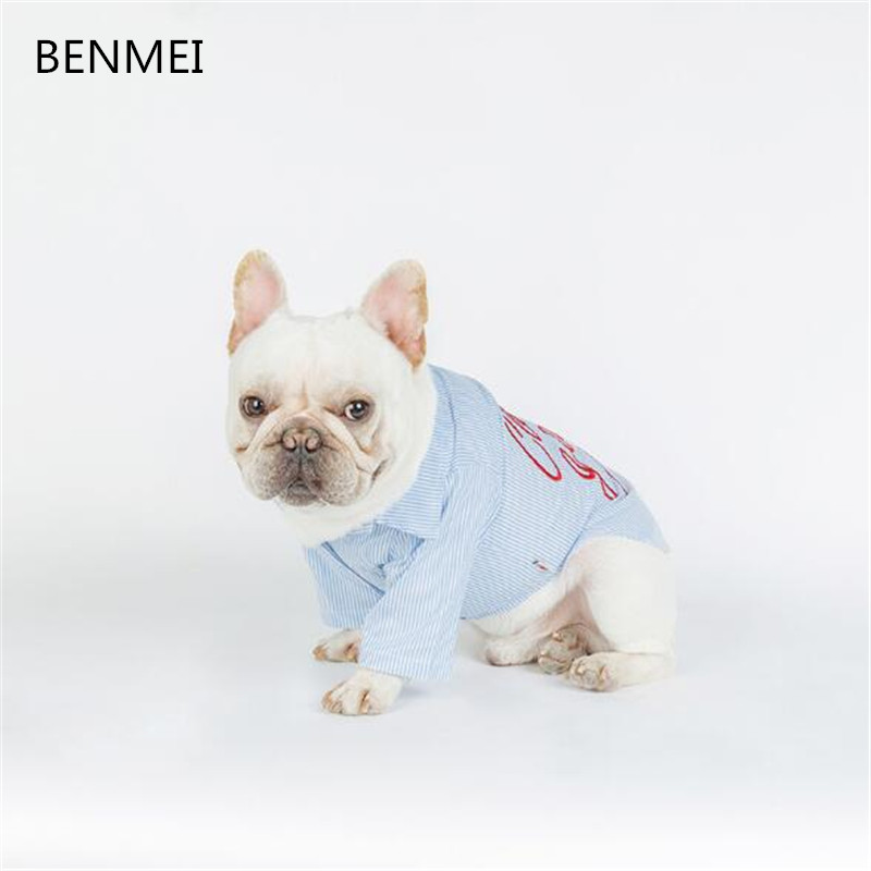 BENMEI Cotton Dog Shirts In Dog Clothing For Small Dogs French Bulldog Striped Pet Dog Tshirt Summer Blue Costumes Clothes