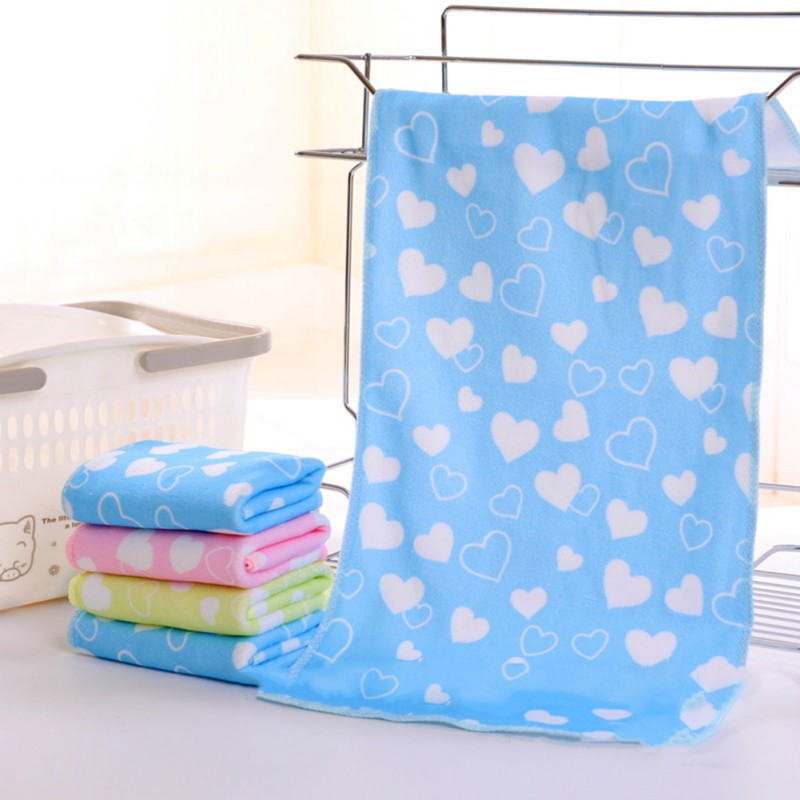 Baby Cotton Kids Towels Baby Towel Cute Baby Cartoon Animal Heart Print Bath Towel Absorbent Drying Swimwear