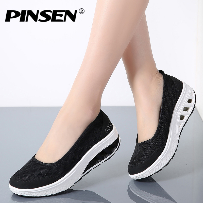PINSEN 2018 Summer Casual Shoes Flat Platform Loafers Women Shoes Slip On Flats Moccasins Creepers Chaussures Femme Shoes Woman breathable loafers sweet bowtie platform shoes woman 2017 summer slip on ballet flats casual cut out creepers women sandals f05
