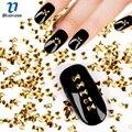 Золотой Цвет Лук Дизайн 3D Блеск Nail Art Diy Меди Шпильки Прелести 1000 Шт./лот Бант Стразы Украшения Для ногти PJ486