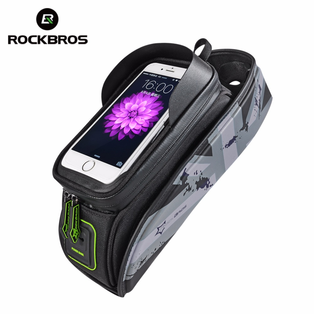 ROCKBROS Bicycle Frame Front Tube Waterproof Bike Bag Touch Screen Bike Saddle Package For 5.8 /6 in Cell Phone Bike Accessories roswheel attack series waterproof bicycle bike bag accessories saddle bag cycling front frame bag 121370 top quality
