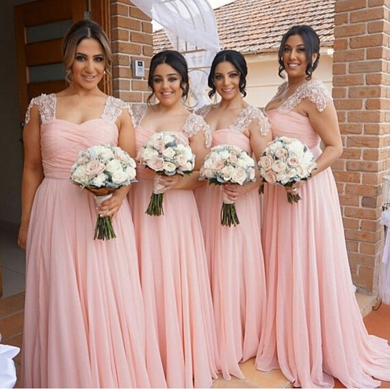Pastel Pink Chiffon Long Bridesmaid Dress Bruidsmeisjes Jurk 2016 Lace Cap Sleeve Party Prom Gowns Abendkleider