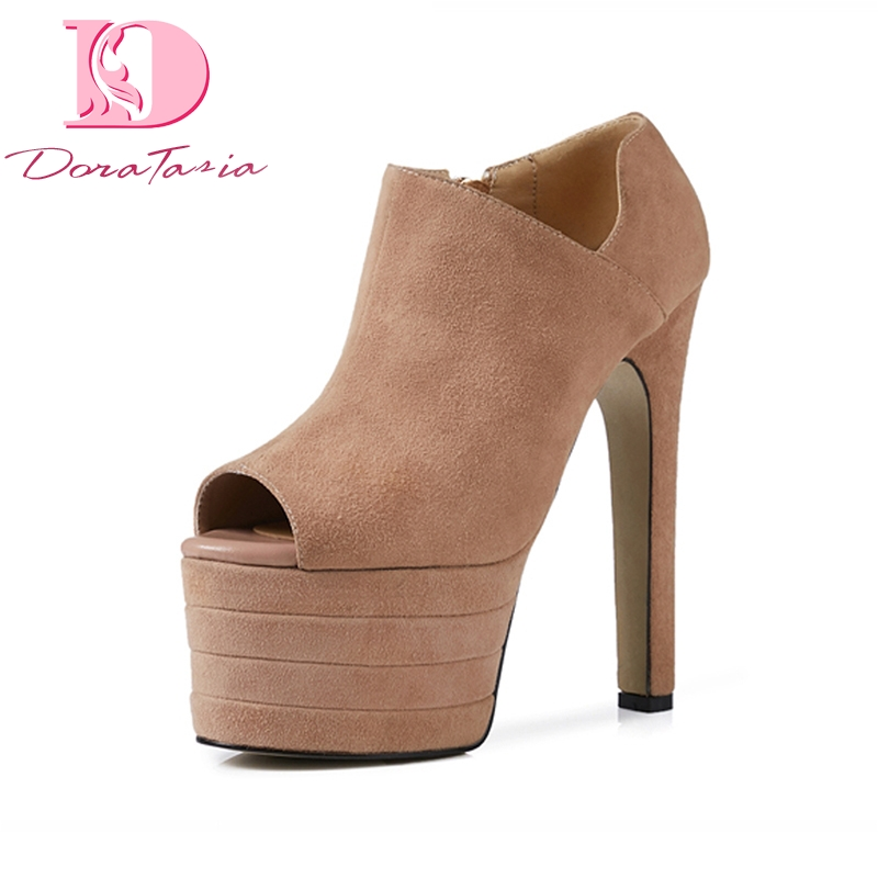 DoraTasia Brand Shoes Women Kid Suede Leather Super High Heels Platform Shoes Woman Sexy Spring Party Pumps Big Size 33-41 big size 43 platform pumps sexy ultra super high heels 20cm patent leather sexy shoes women s party pumps wedding shoes nn 94
