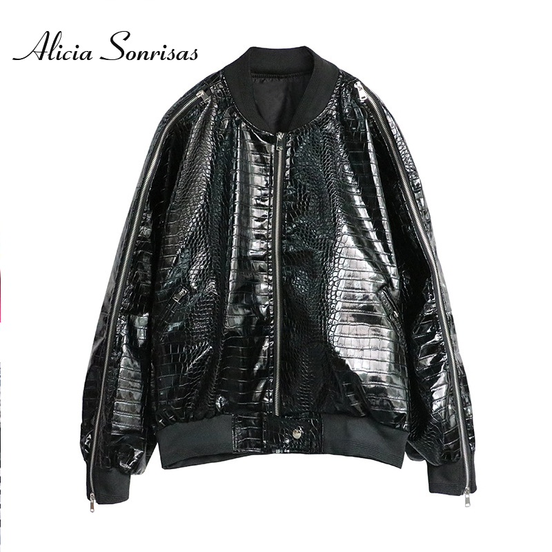 2019 Stand Collar PU   Leather   Jacket For Women Spring New 2019 Zipper Casual Motorcycle Snake PU   Leather   Coat 70776