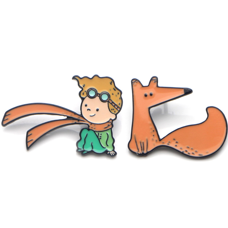 Little prince fox cartoon Zinc alloy tie pins badges para shirt clothes shoes brooches medal for Women Men Jewelry Gifts E0319 in Badges from Home Garden