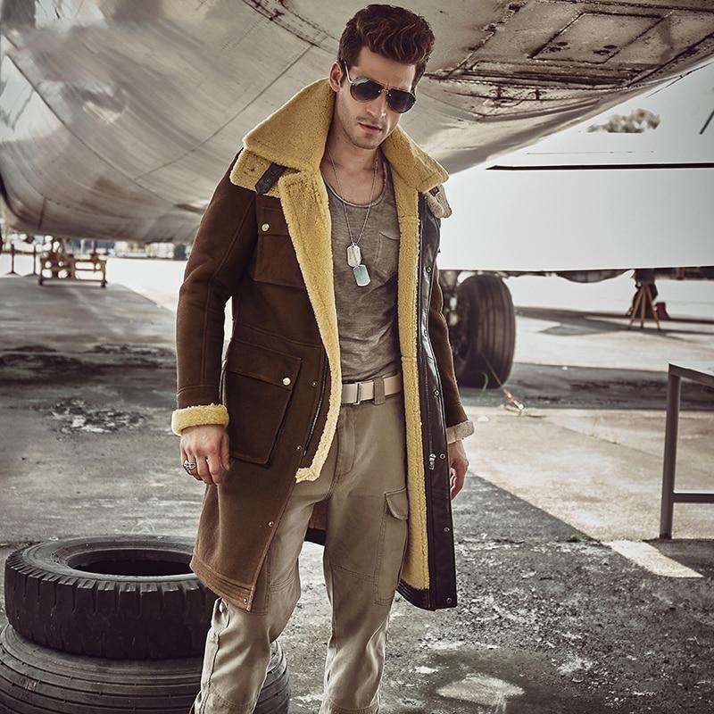 Aliexpress Com Buy Luxury X Long Military Style Men S Shearling