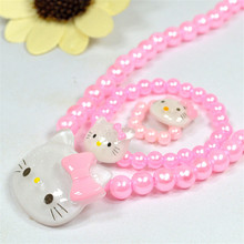 12452a56a 3pcs/set hello kitty Children Jewelry accessories necklace+ bracelet +Ring  doll baby gift cosmetic beauty fashion toy kid makeup