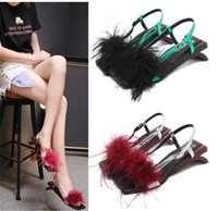 Summer new fashion European station popular word with women's shoes wild holiday high heeled fur sandal feathers