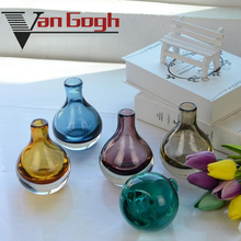 Europe coloured Small glass vase mini Flower arrangemen terrarium containers home decoration accessories modern