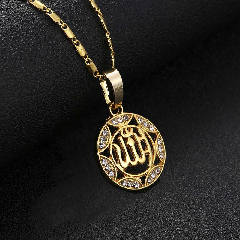 Hurtownie złoty/srebrny/różowe złoto kolory Allah wisiorek naszyjnik kobiety mężczyźni biżuteria bliski wschód/muzułmańskie/islamska emiraty Ahmed