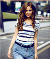 Europe and America loose bat striped short sleeve printed chiffon blouse free shipping