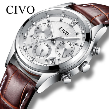 Civo 비즈니스 캐주얼 남성용 시계 방수 캘린더 아날로그 쿼츠 시계 남성용 정품 가죽 시계 relogio masculino