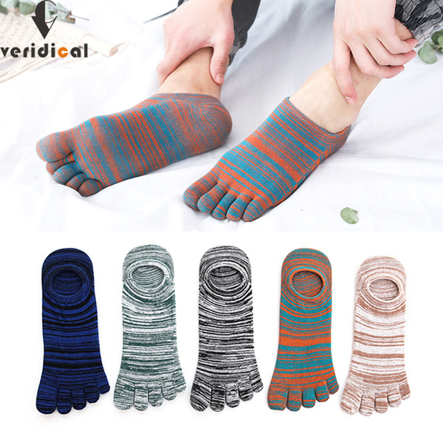 Veridical 5 Pairs/Lot Cotton Socks With Toes Colorful Spring Summer No Show Ankle Cool Socks For Man Vintage Five Finger Socks