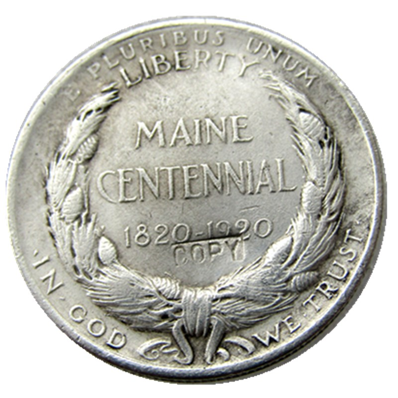 USA 1920-Maine Centennial half dollar Silver Plated Copy Coins