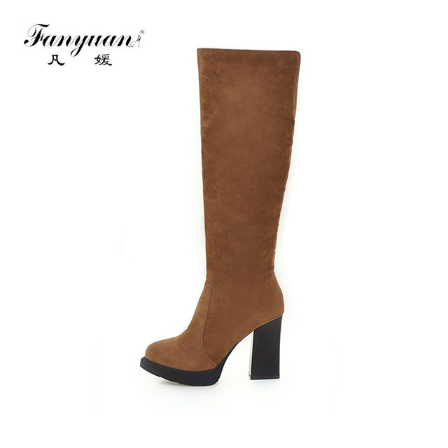 Fanyuan Fashion Super High heel Work   Safety Boots Solid Platform Knee High  Boots autumn Women Shoes Zipper warm Winter Boots 76e1ef44ec
