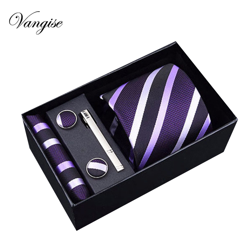 2020 Men`s Tie Polyester Silk Jacquard Woven Necktie Hanky Cufflinks&clips Sets For Formal Wedding Business Party Gift Box Pack