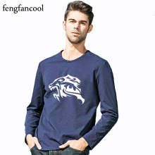 fengfancool Brand tiger head t shirt man's spring autumn cotton long sleeve t-shirt tiger High quality Patterned male shirt