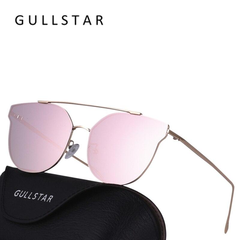 Gullstar кошачий глаз Солнцезащитные очки для женщин Для женщин классический Брендовая Дизайнерская обувь Мода розовое золото Рамки Защита от солнца Очки для Для женщин плоское зеркало Óculos De Sol