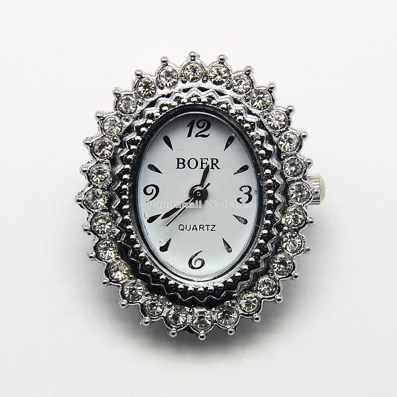 10pcs Oval Watch Faces Alloy Rhinestone Watch Heads ,Platinum,  about 27mm wide, 32mm long, 8mm thick, hole: 1mm. | Fotoflaco.net