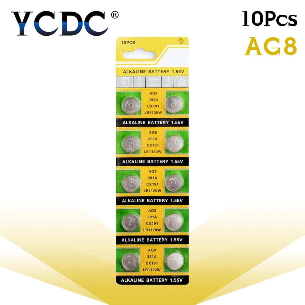 10pcs/pack AG8 LR1120 391 SR1120 Button Batteries 191 LR55 Cell Coin Alkaline Battery 1.55V LR1120W CX191 For Watch Toys Remote