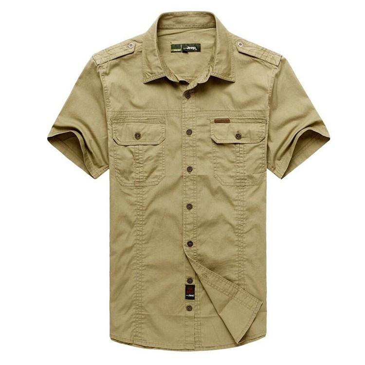 Plus Size xxxxxl Summer Men\'s 100% Cotton Shirts Solid Color Fitness Dress Short Sleeve Shirts Casual Outdoor Men AFS JEEP 5001 (4)