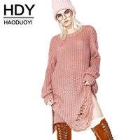 HDY Women Sweater Punk Dress Loose Style Long Sleeve Knitted Sweater Hole Punk High Street Women