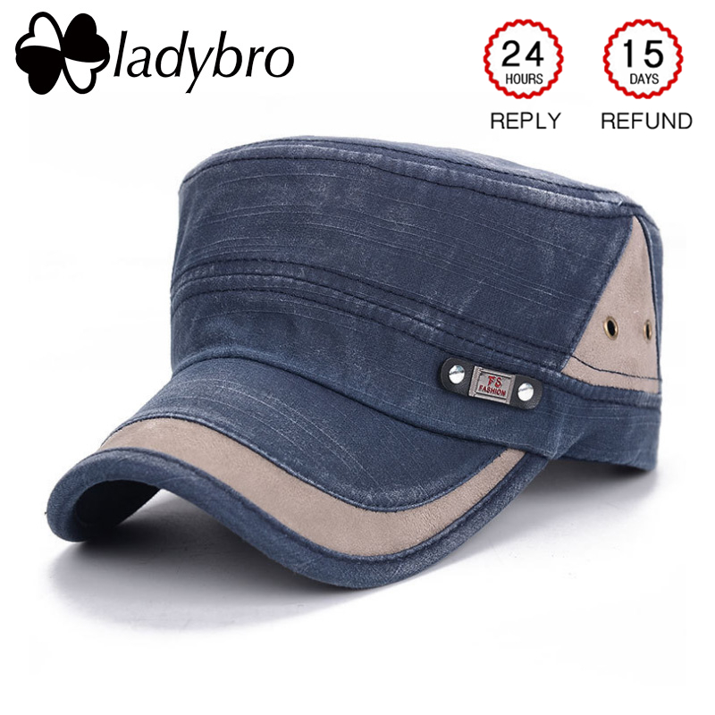 Ladybro Men Hat Cap Women Flat Army Hat Snapback Female Baseball Cap - Kledingaccessoires