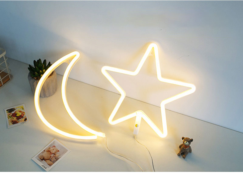 Cute LED Neon Sign Light Cloud Lips Moon Neon Light Holiday Party Wedding Decorations USB Night Lamp Home Decor Drop Shipping (1)