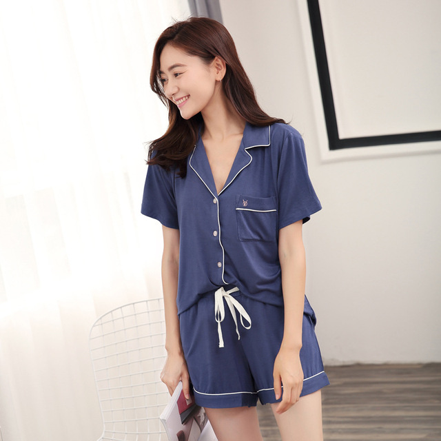 c1dd931817 Modal Pijama Shorts Women Two Piece Short Pajama Set Pyjama Shorts Button  Top and Womens Sleep Shorts Summer Sleepwear