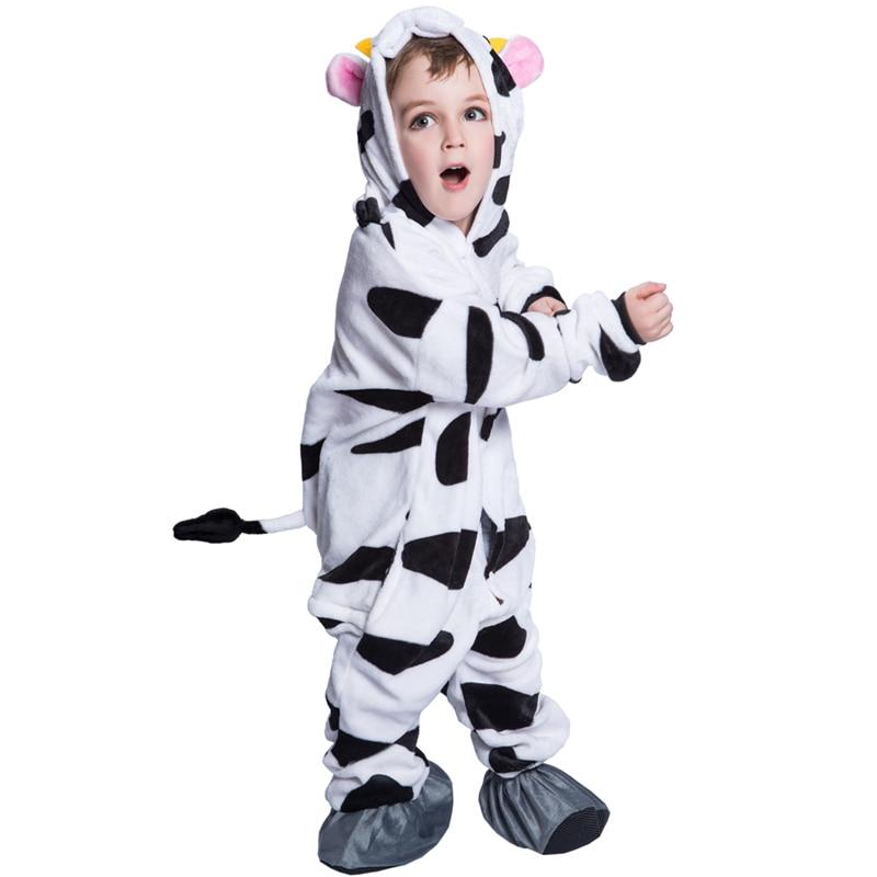 dairy milk cow kigurumi kids 2017 children hooded blanket fur thickness animal cosplay winter halloween costume - Halloween Costume Cow