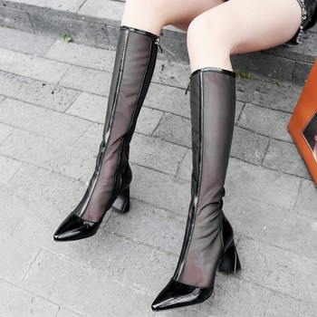 Fashion Genuine Leather Womens Knee High boots Hollow Breathable Mesh shoes Cool Boots Women's Summer boots Size 33-42