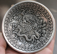 Decoration Bronze Factory Outlets Tibet Silver Marked Chinese Dynasty Miao Silver Dragon Phoenix Peony Statue Dish