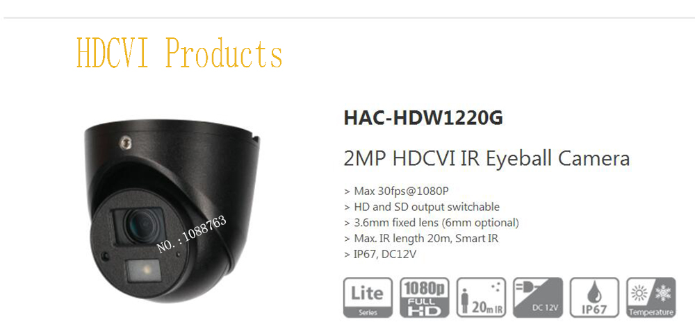 все цены на Free Shipping Original English DAHUA Security Camera CCTV 2MP HDCVI IR Eyeball Digital Video Camera without Logo HAC-HDW1220G онлайн