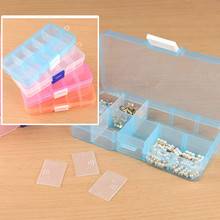 10 grid Plastic jewelry box can split transparent PP plastic storage box jewelry small components hardware tools