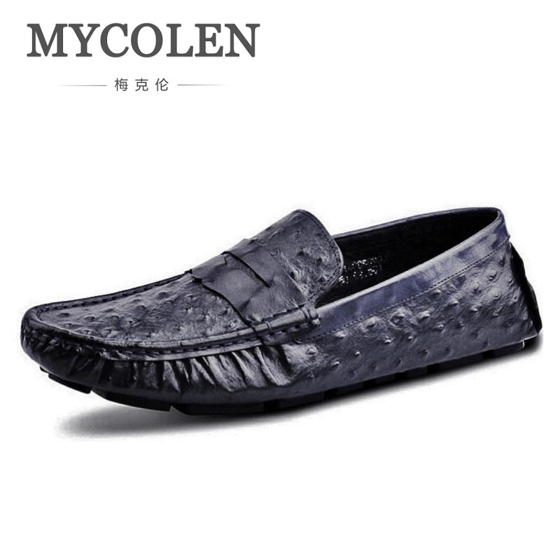 MYCOLEN Men Black Pattern Loafer Shoes Summer Leather Slip-On Loafers Vintage Style Men Driving Casual Blue Flat Shoes fashion tassels ornament leopard pattern flat shoes loafers shoes black leopard pair size 38