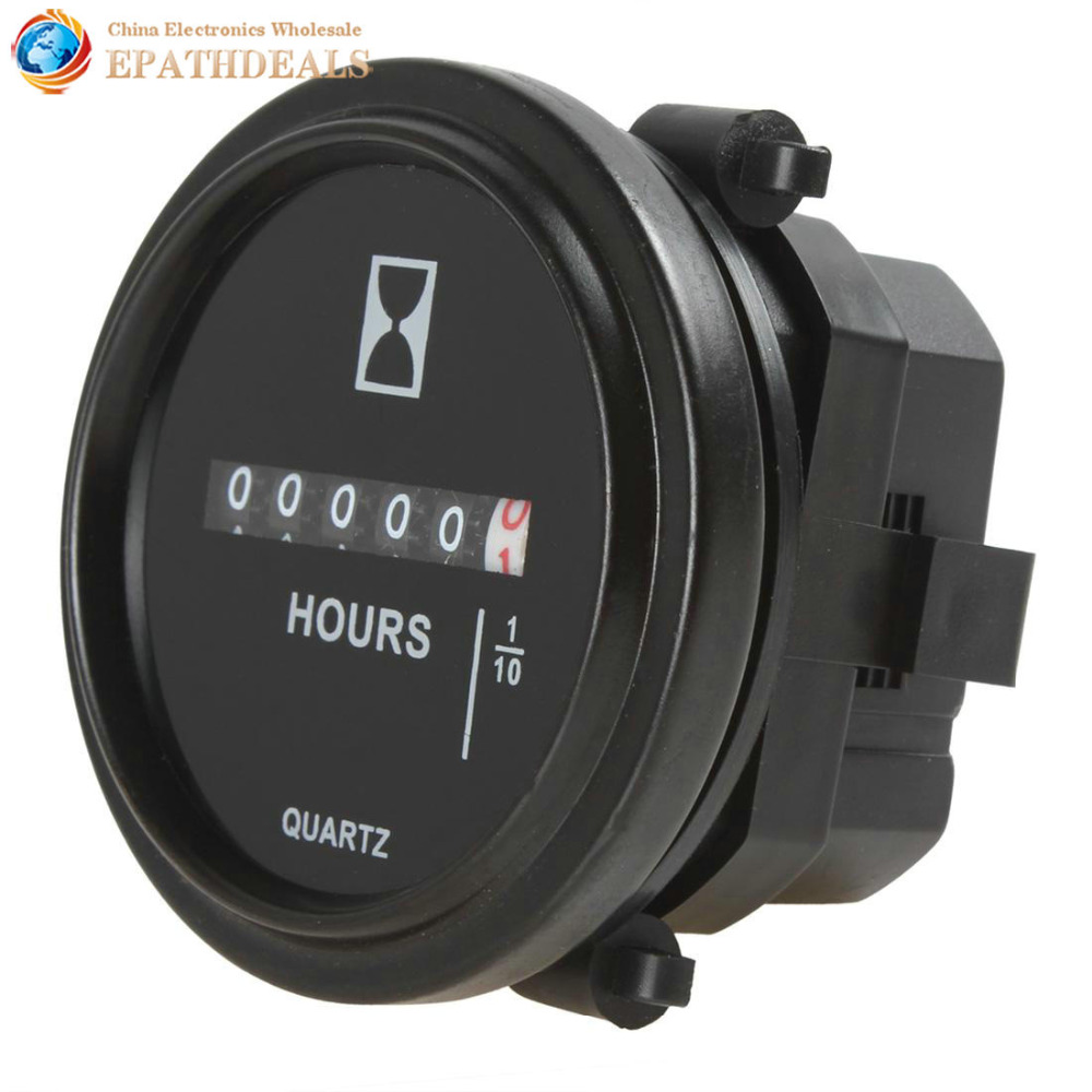 2 Inch DC 8-80V Round Mechanical Hour Meter Counter Timer Hourmeter for Race Car Boat Generator Diesel Gasolin Petrol Engine цена