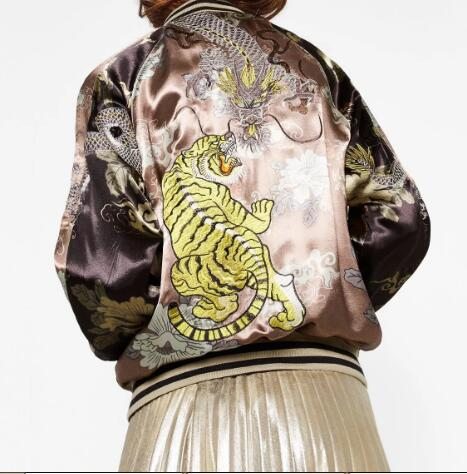Woman 2016AW Woman Luxury Limited Edition Gold Oriental Dragon Tiger Heavy Embroidered R ...
