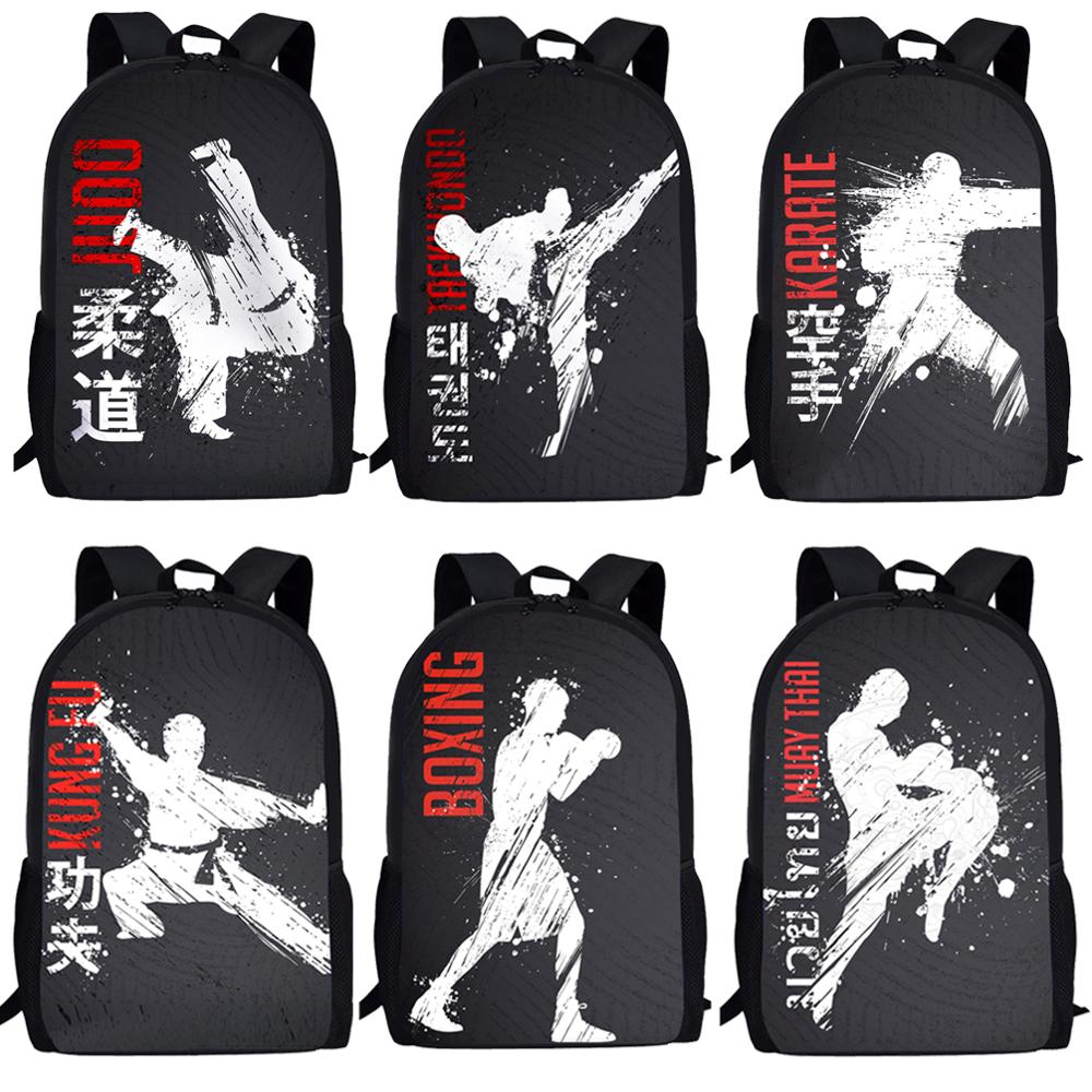 Jackherelook Cool Martial Arts JUDO Printing School Bags For Boys Girls 3D Karate/Taekwondo Kids School Supplies Student Bookbag