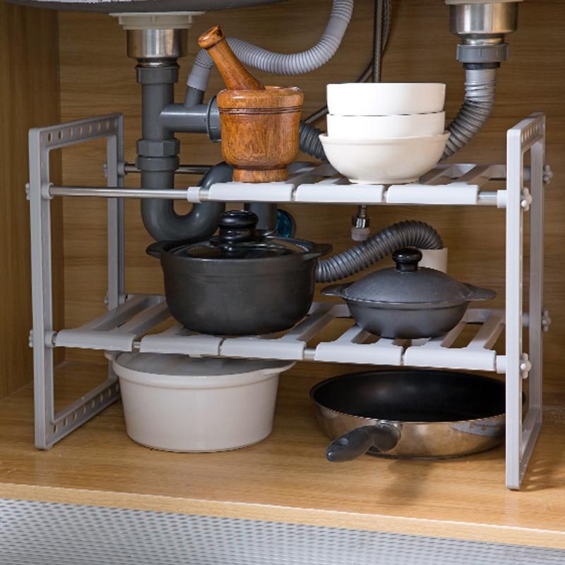OTHERHOUSE Kitchen Under Sink Storage Rack Shelf Double Layer  Cooker Holder Cabinet Organizer Stainless Steel Kitchen Sink RackRacks