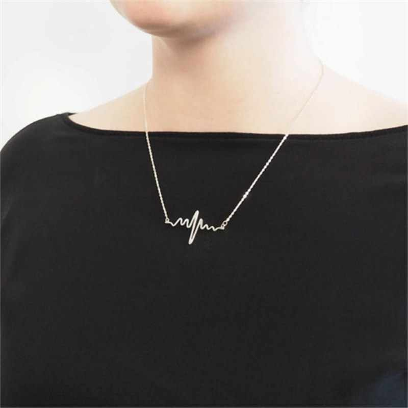 Simple Wave Heart Necklace Chic Ecg Pulse Charm Pendant Necklace Lightning Women Vintage Fashion Jewelry Accessories Gold Color