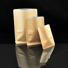 Heat Seal Open Top Food Package Bag Brown Kraft Paper Aluminum Foil Lining Bags with Round Corner Coffee Tea Vacuum Storage