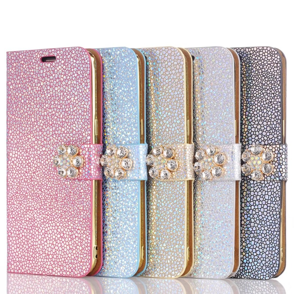 Dower Me Diamond Flower Card Holder Flip Wallet Glitter Leather Phone Case Cover For Iphone 7 6 6S Plus Samsung Galaxy S8 Plus
