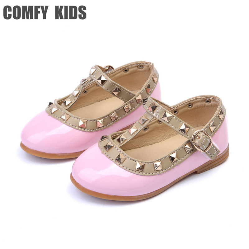 COMFY KIDS Top Selling Girls PU Lather Shoes Fashion Flat With Girls Princess Shoes For Girls Rivet Dance Shoes